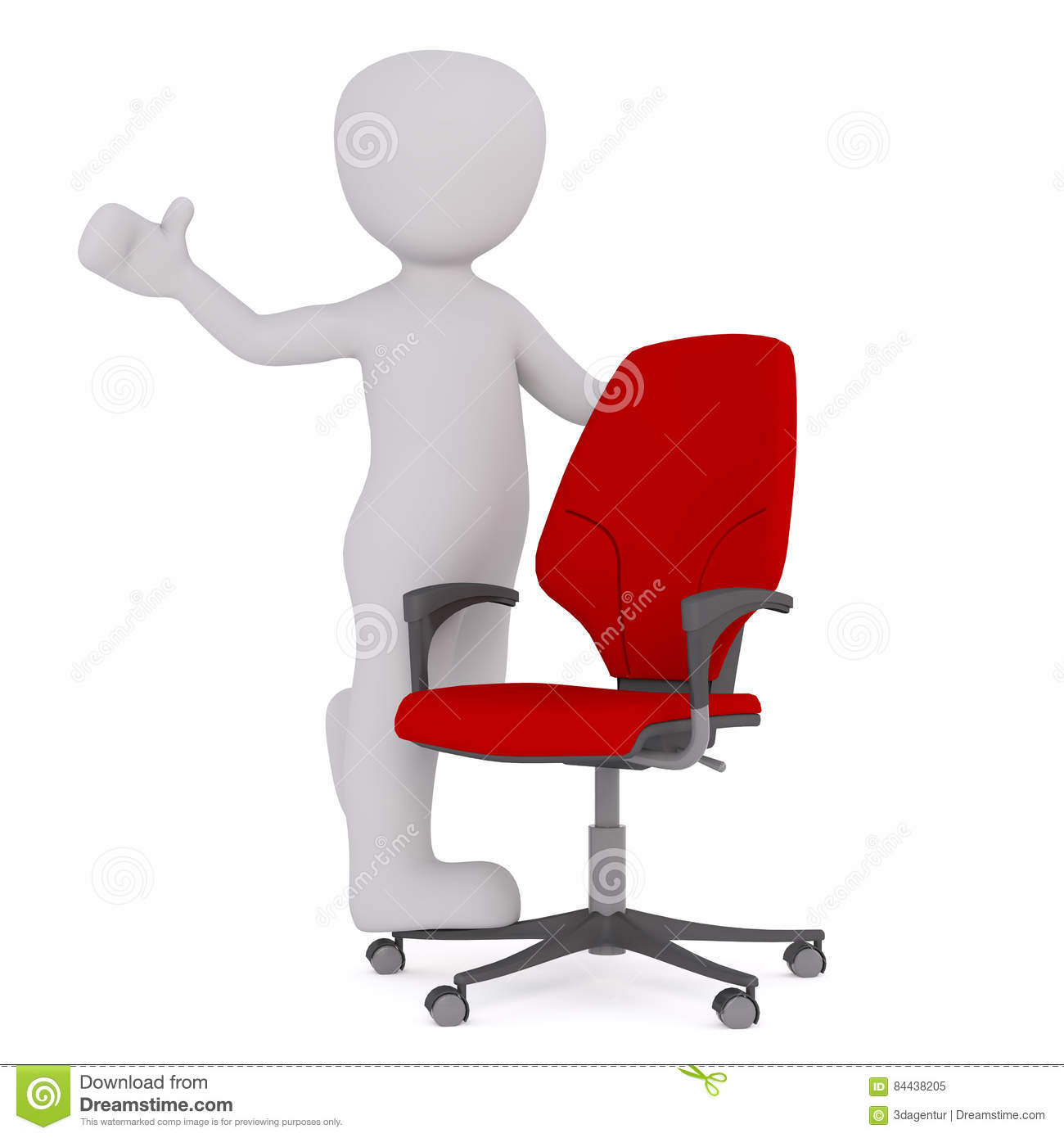 Positive Cartoon Figure With Red Office Chair Stock