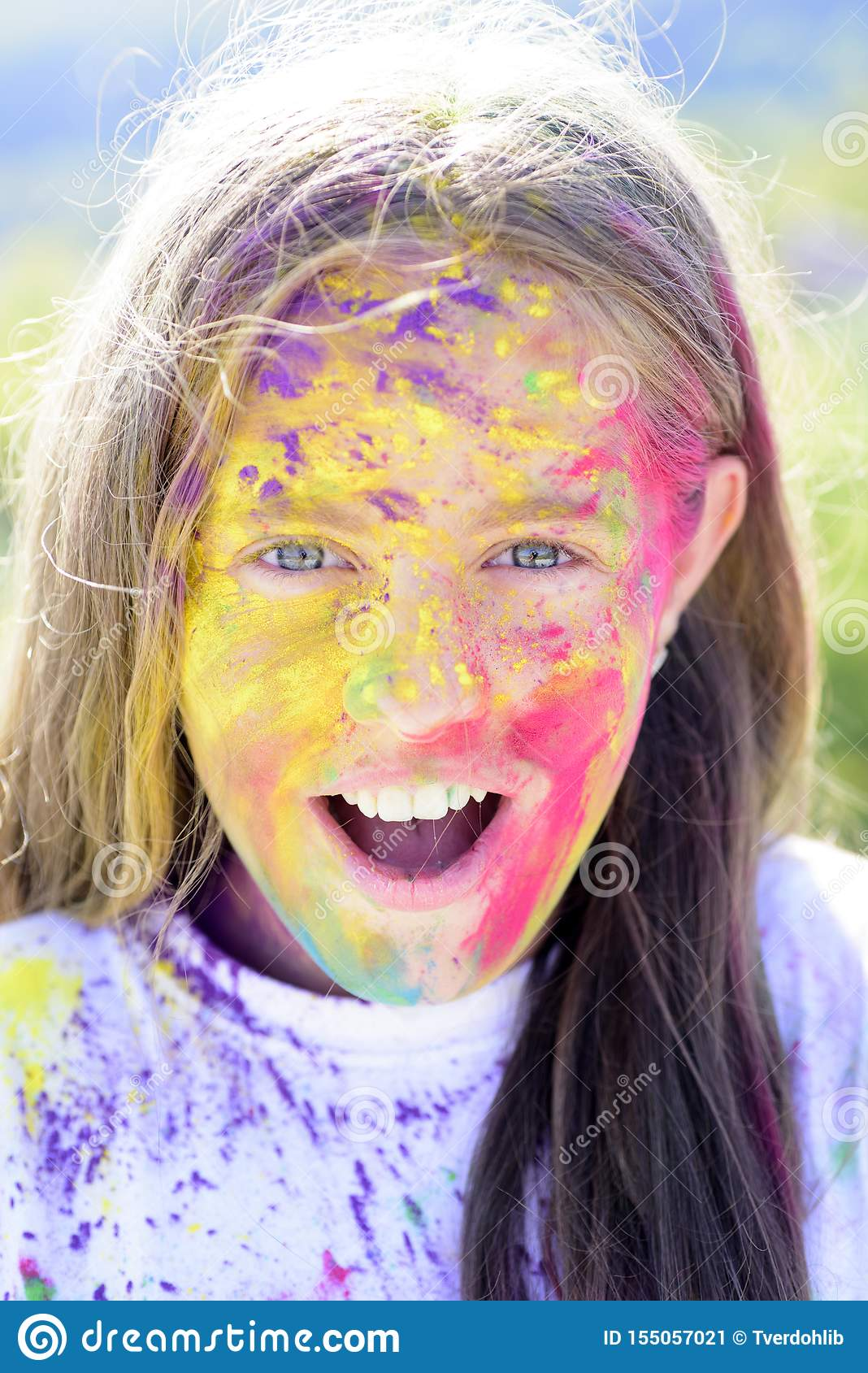 Positive and cheerful. colorful neon paint makeup. Happy youth party. Optimist. Spring vibes. Crazy hipster girl. Summer