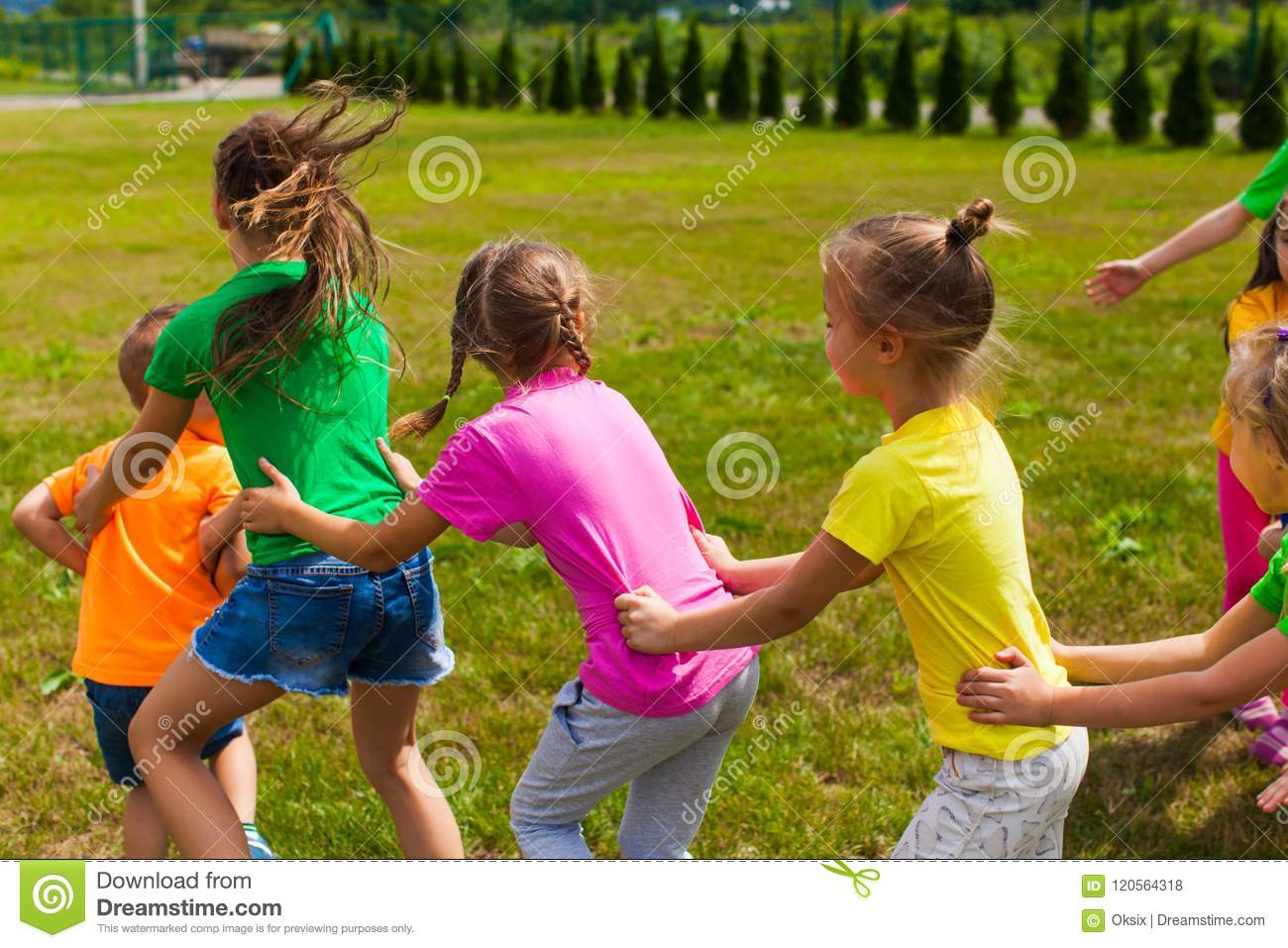 Positive Children Camp Games Stock Photo - Image of active