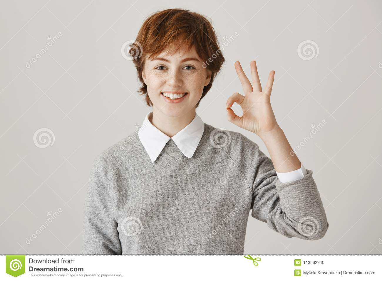Positive Emotions Concept Charismatic Boyish Redhead Girl With