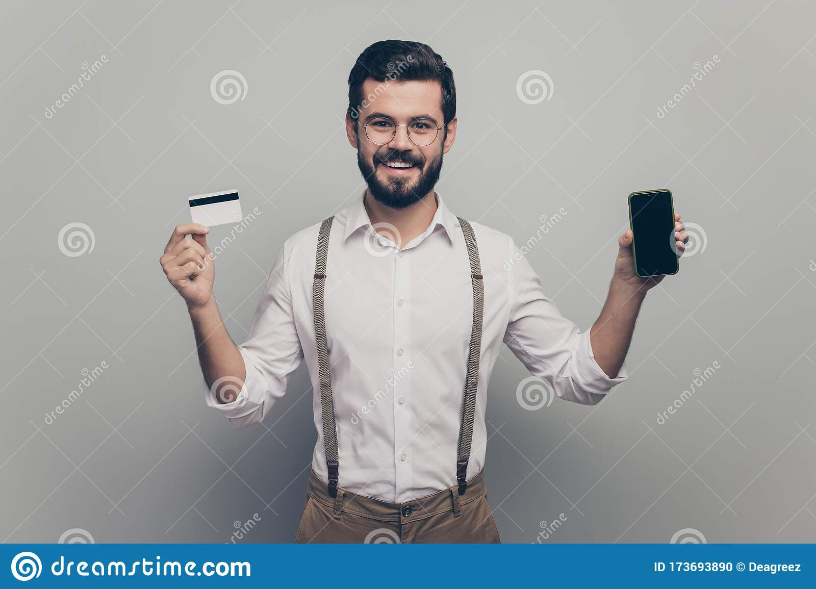 positive energetic man investor hold deposit card pay