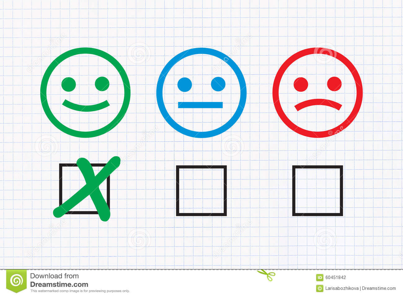 Checklist with Positive feedback on graph paper background. Happy High School Student Clipart