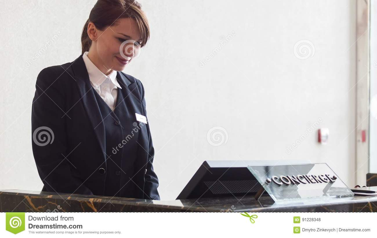 Positive female receptionist typing on computer stock footage positive female receptionist typing on computer stock footage video 91228348 sciox Images