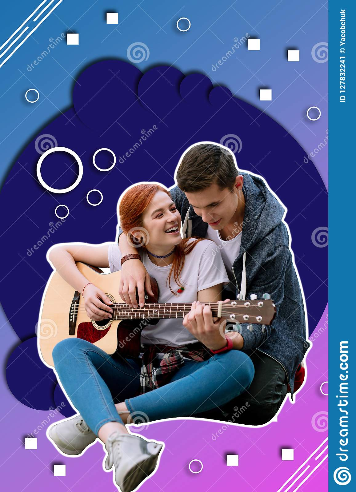 Positive long hared girl playing the guitar and her boyfriend listening