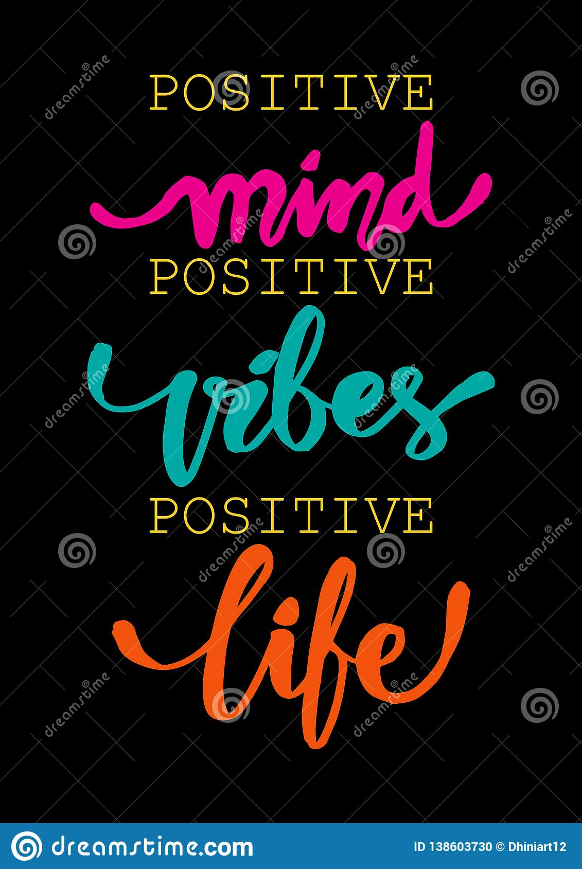 Positive Mind Positive Vibes Positive Life Inspirational Quote Stock Vector Illustration Of Brush Mind 138603730