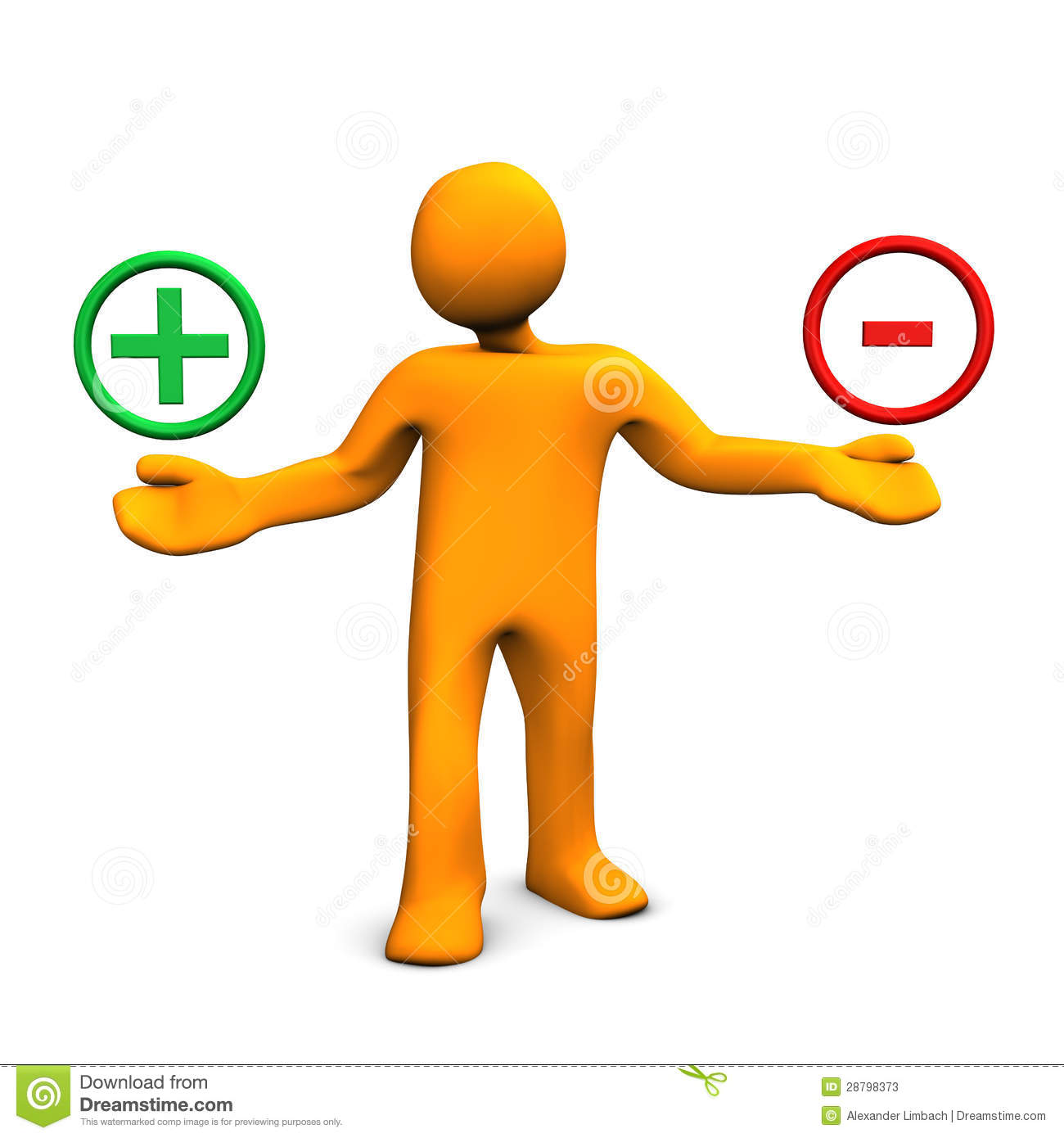 3d illustration of figure balancing positive and negative signs