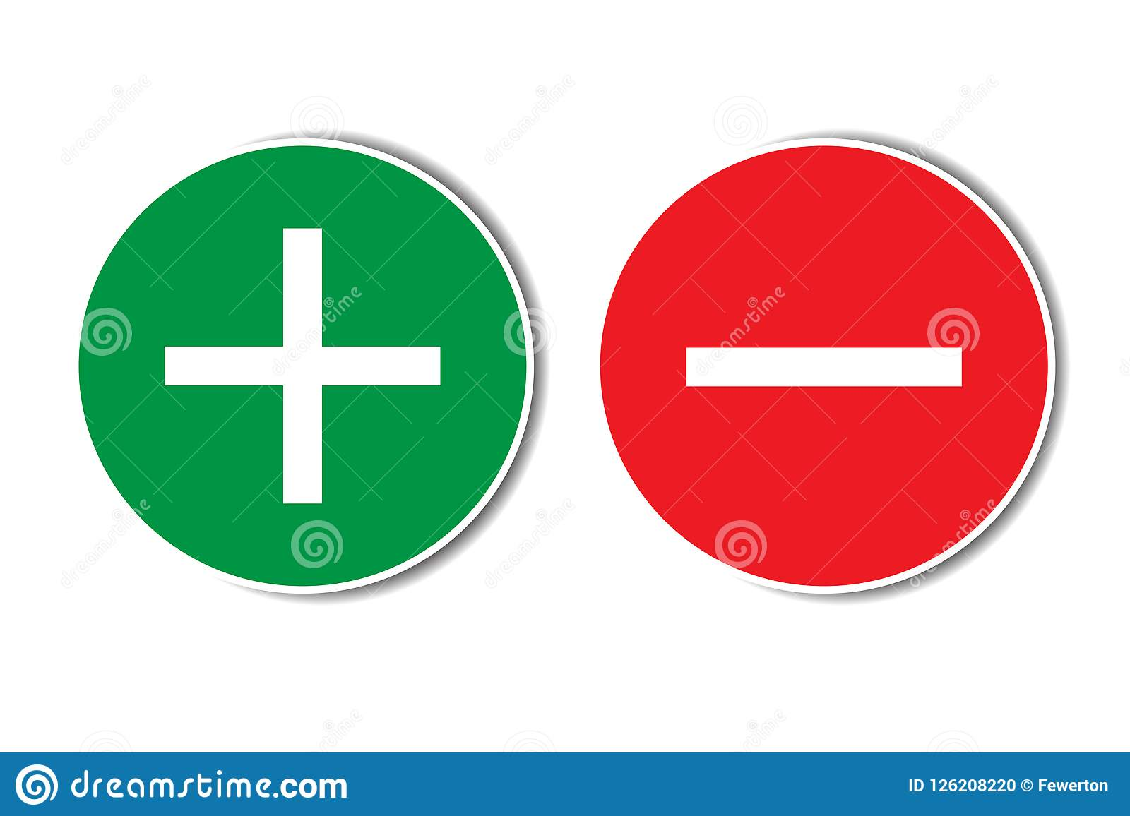 Positive negative plus minus assessment red green buttons with shadow. Simple concept pros cons dos dont list.