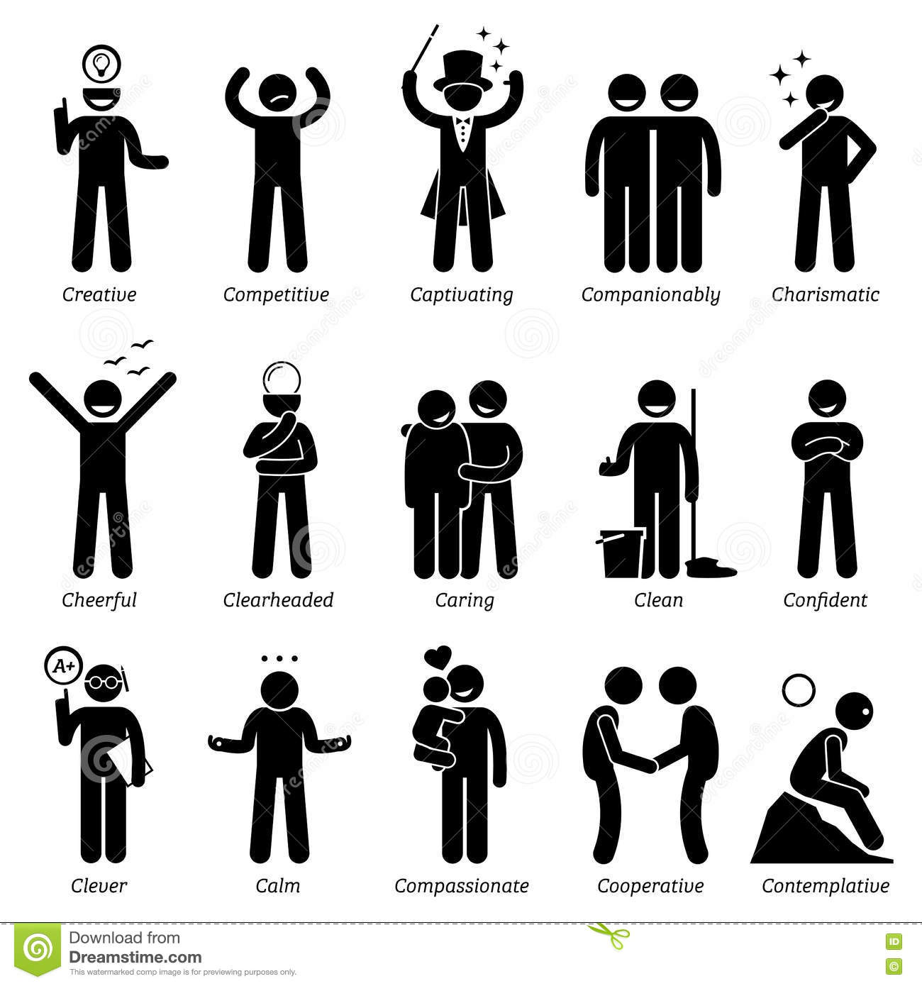 Positive personalities character traits clipart stock Qualities of a good architect