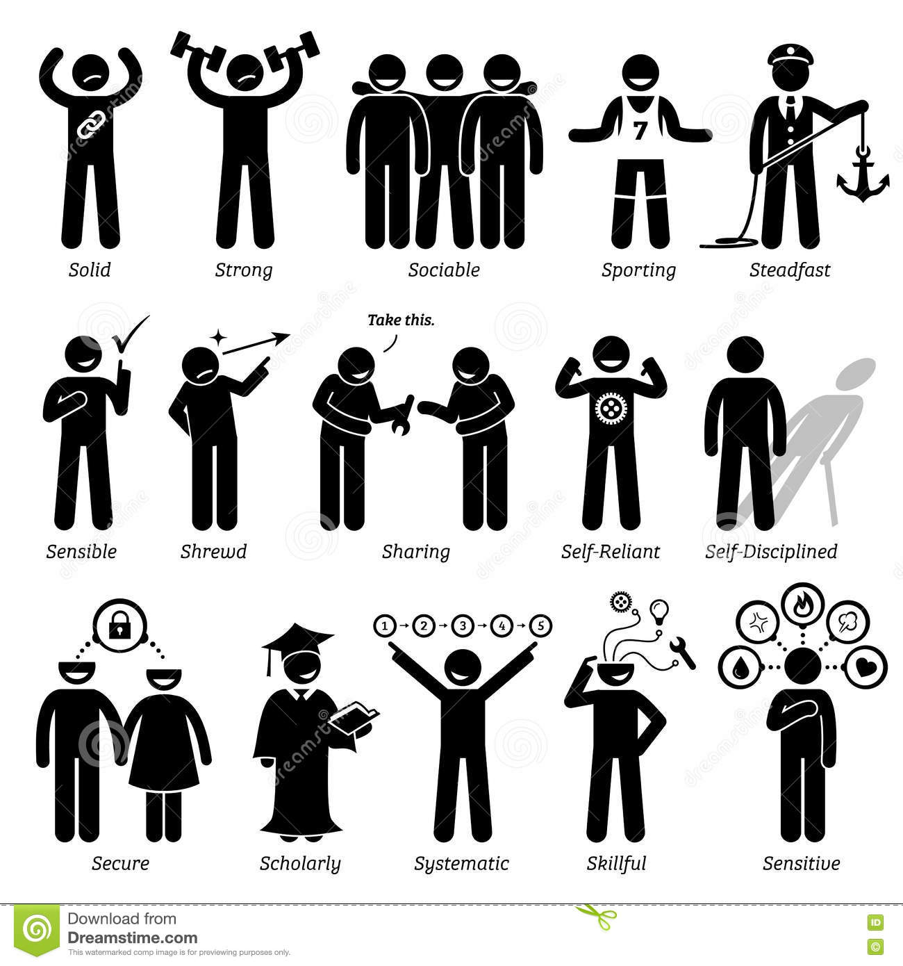 positive personalities character traits clipart stock vector