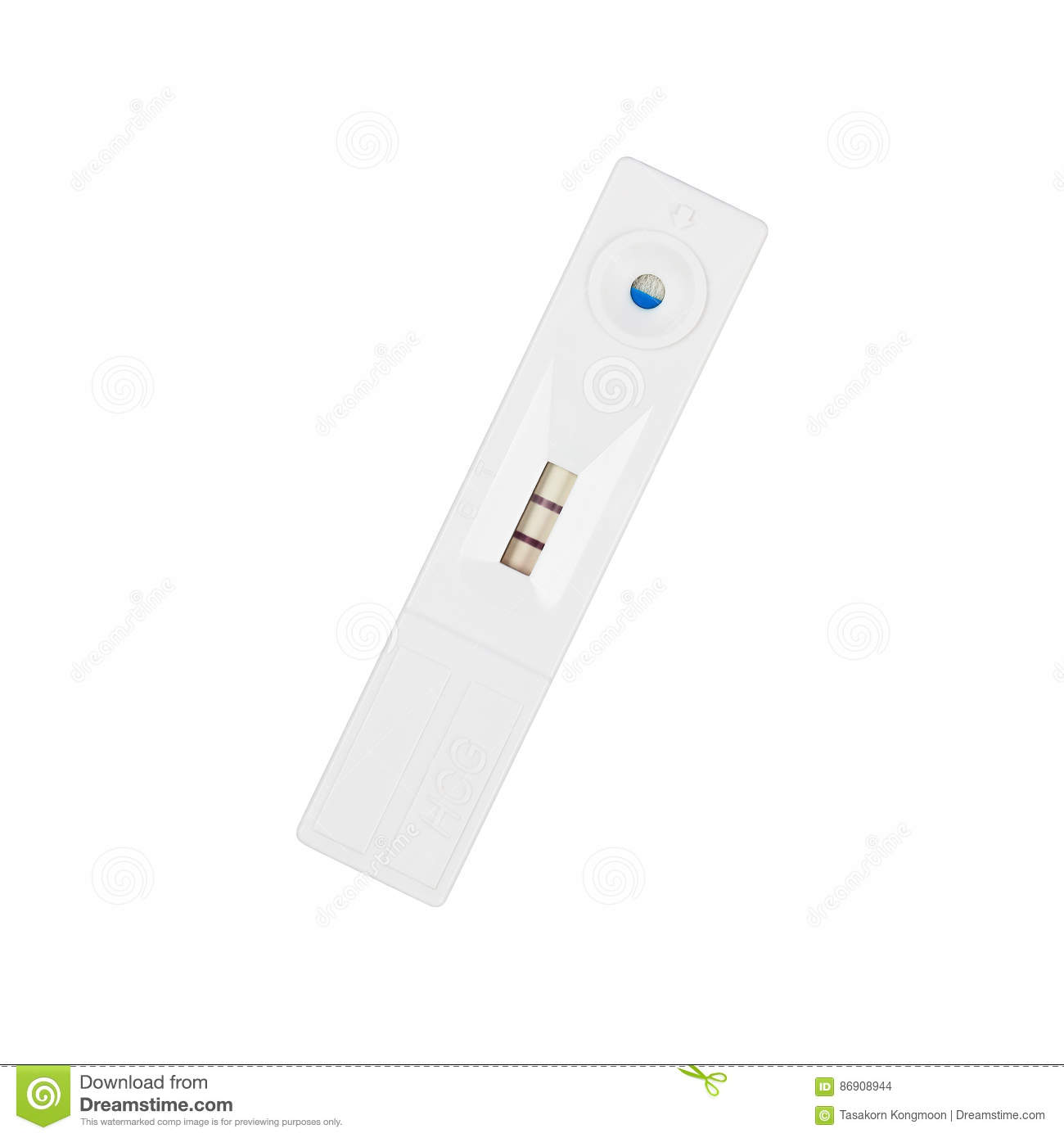 positive pregnancy test, cassette format isolated on white