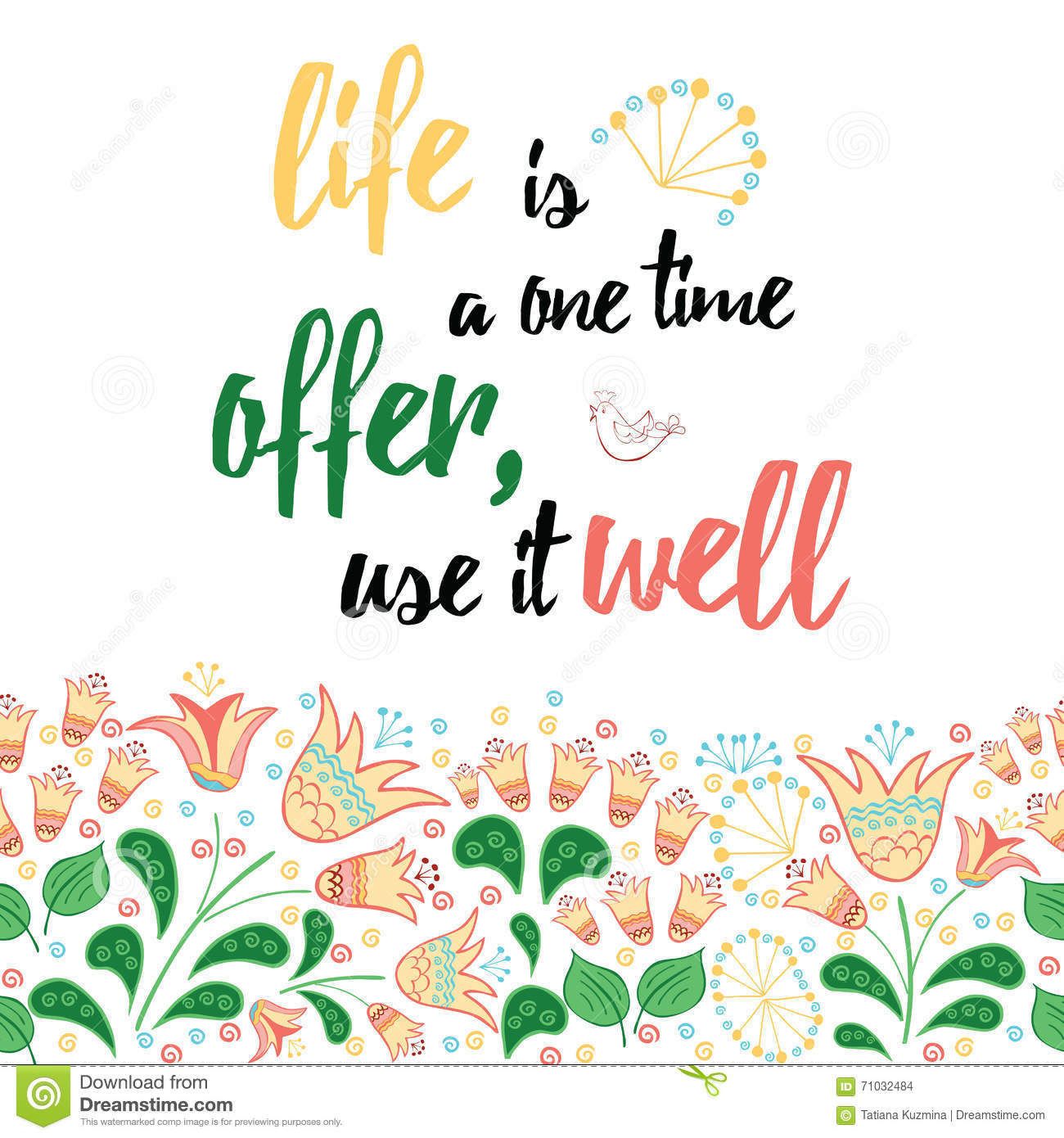 Positive Quote About Life View Decorated Meadow Hand Drawn Flowers