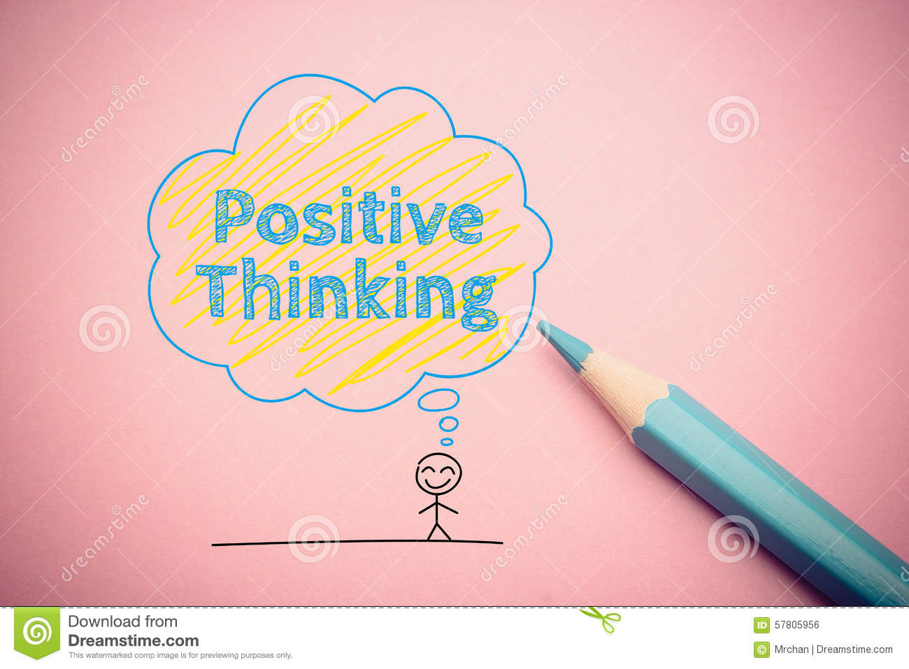 happy cartoon man with Positive thinking concept is on the paper.