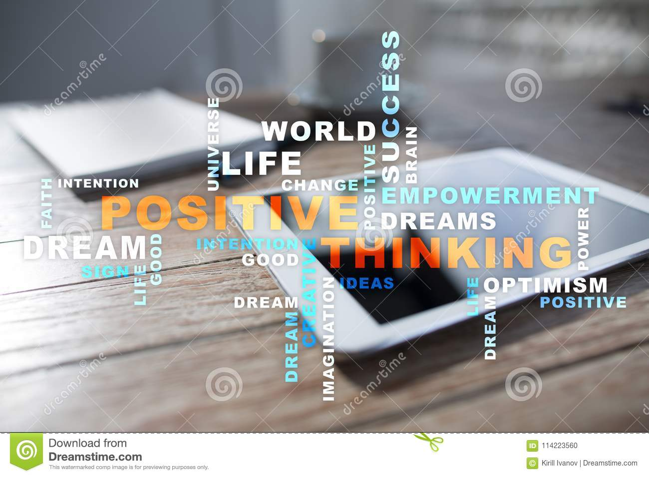 Positive thinking Life change. Business concept. Words cloud.