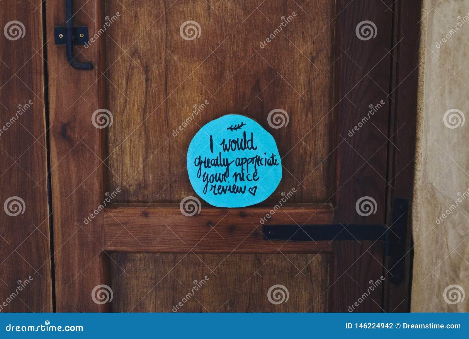 Positive wish on the door