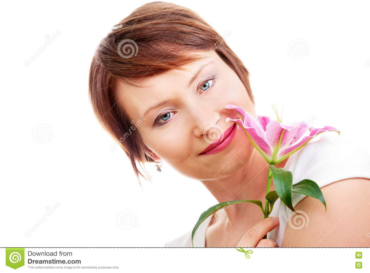 Positive woman with flower