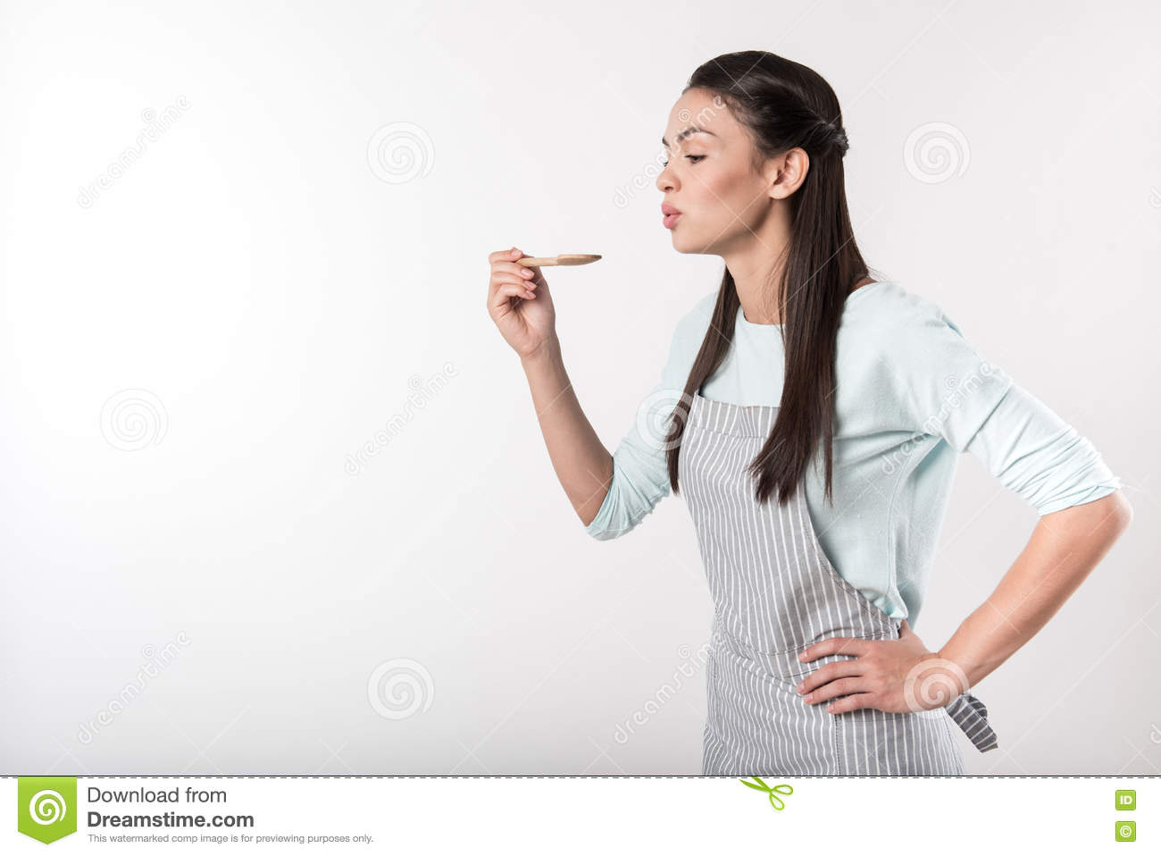 Positive woman involved in cooking