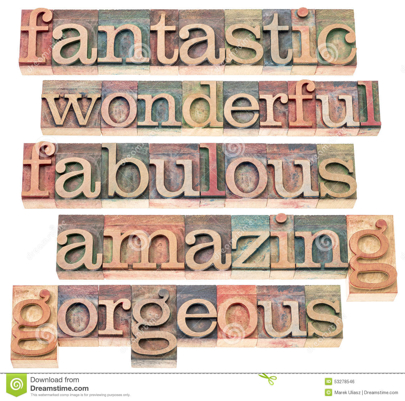 The Word Amazing: Positive Words Typography Stock Photo. Image Of Positive