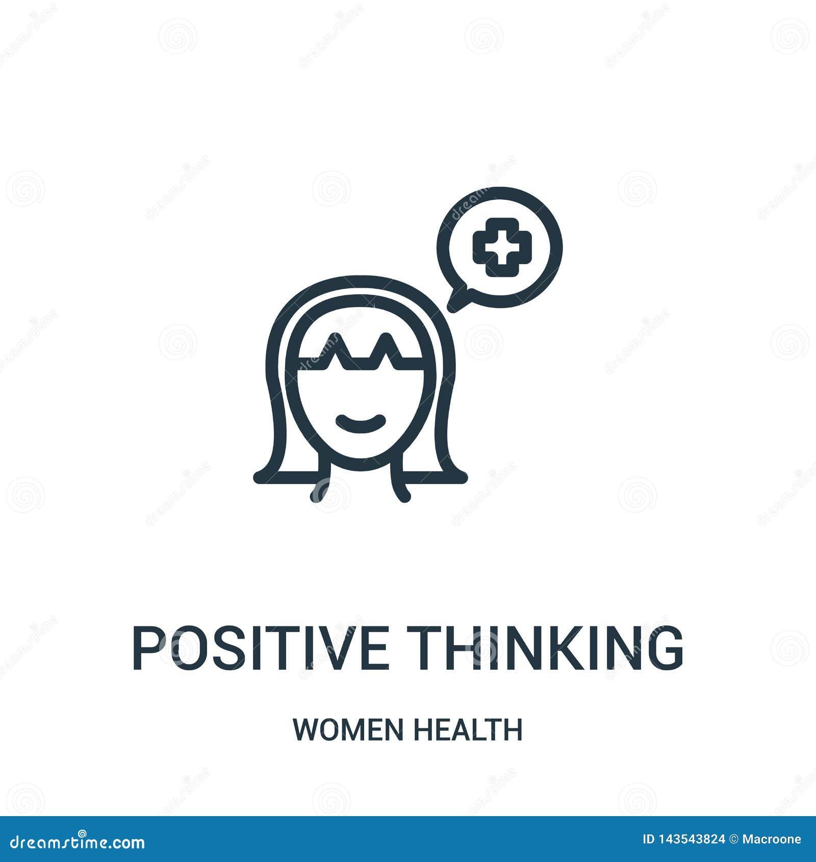 Positiver denkender Ikonenvektor von der Frauengesundheitssammlung Dünne Linie Entwurfsikonen-Vektorillustration des Positivs den