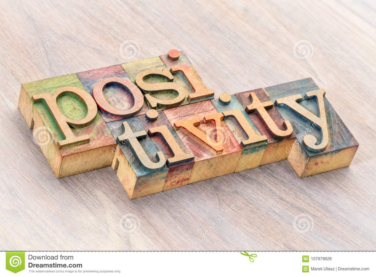 Download Positivity Word Abstract In Wood Type Stock Photo - Image of letter, typography: 107979626