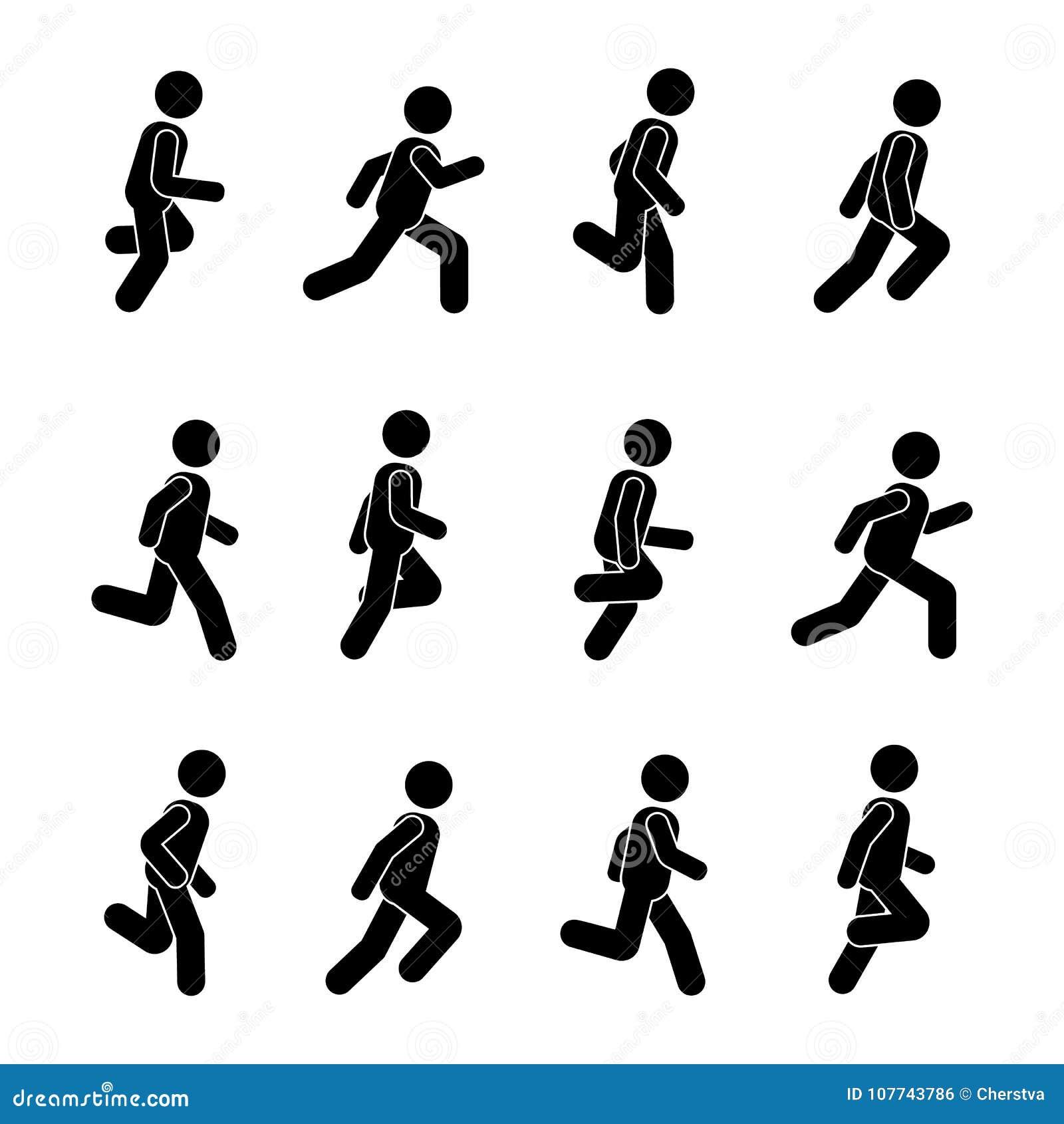 Posizione corrente della gente dell uomo varia Figura del bastone di posizione