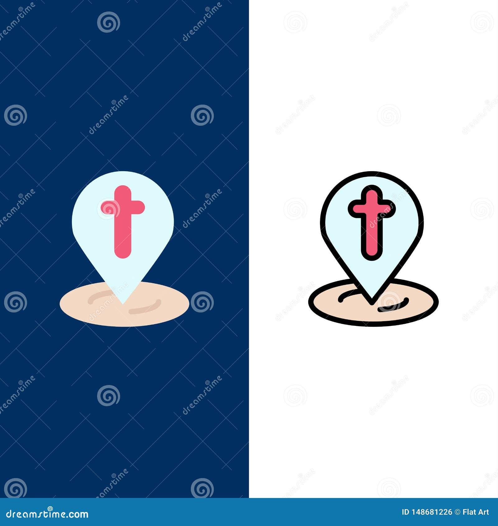 Posizione, mappa, Pasqua, Pin Icons Il piano e la linea icona riempita hanno messo il fondo blu di vettore