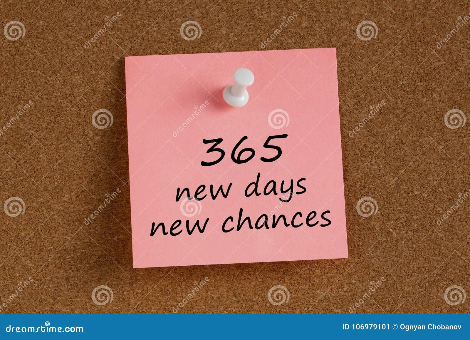 365 possibilidades novas dos dias novos escritas sobre recordam a nota