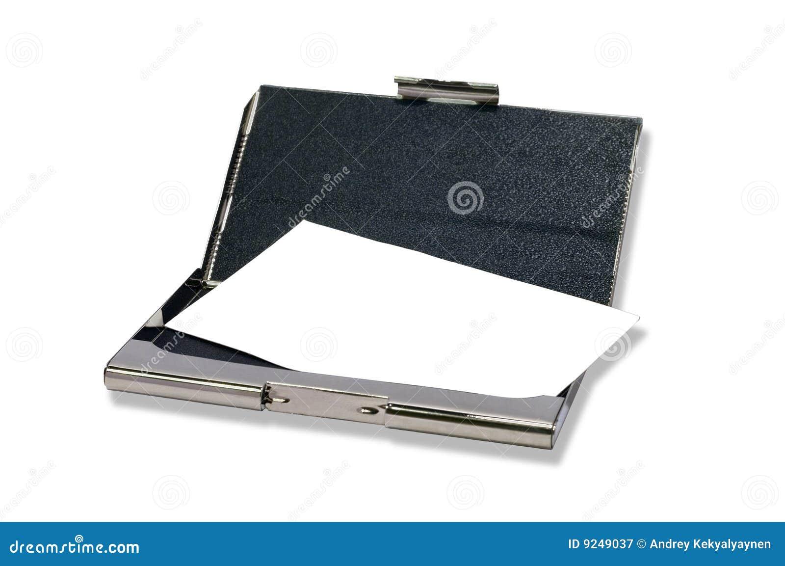 Possuidor de cartão dos bussines de Metall com cartão desobstruído