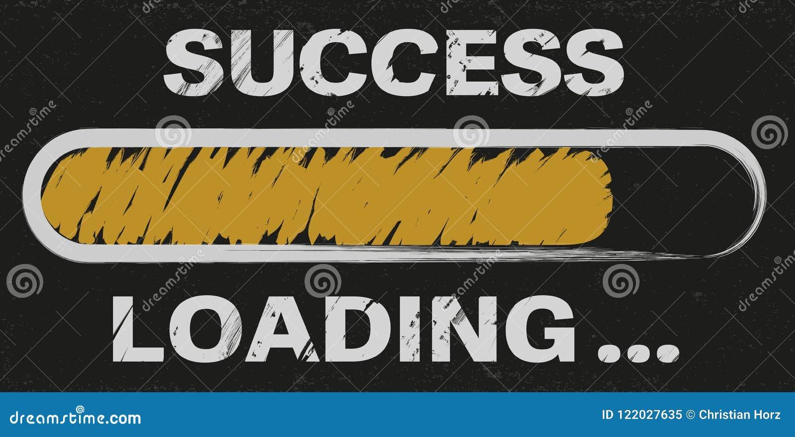 Postępu bar z słowo sukcesu ładowaniem