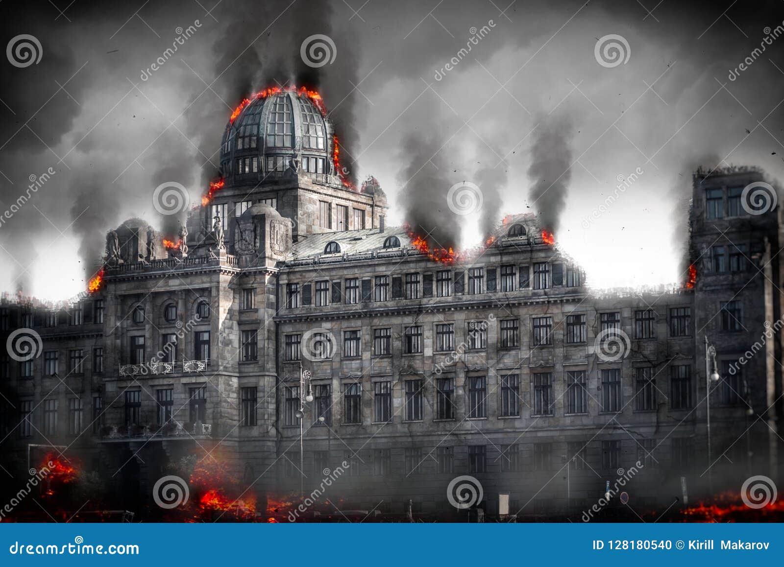 Post apocalyptic destroyed building. Digital illustration