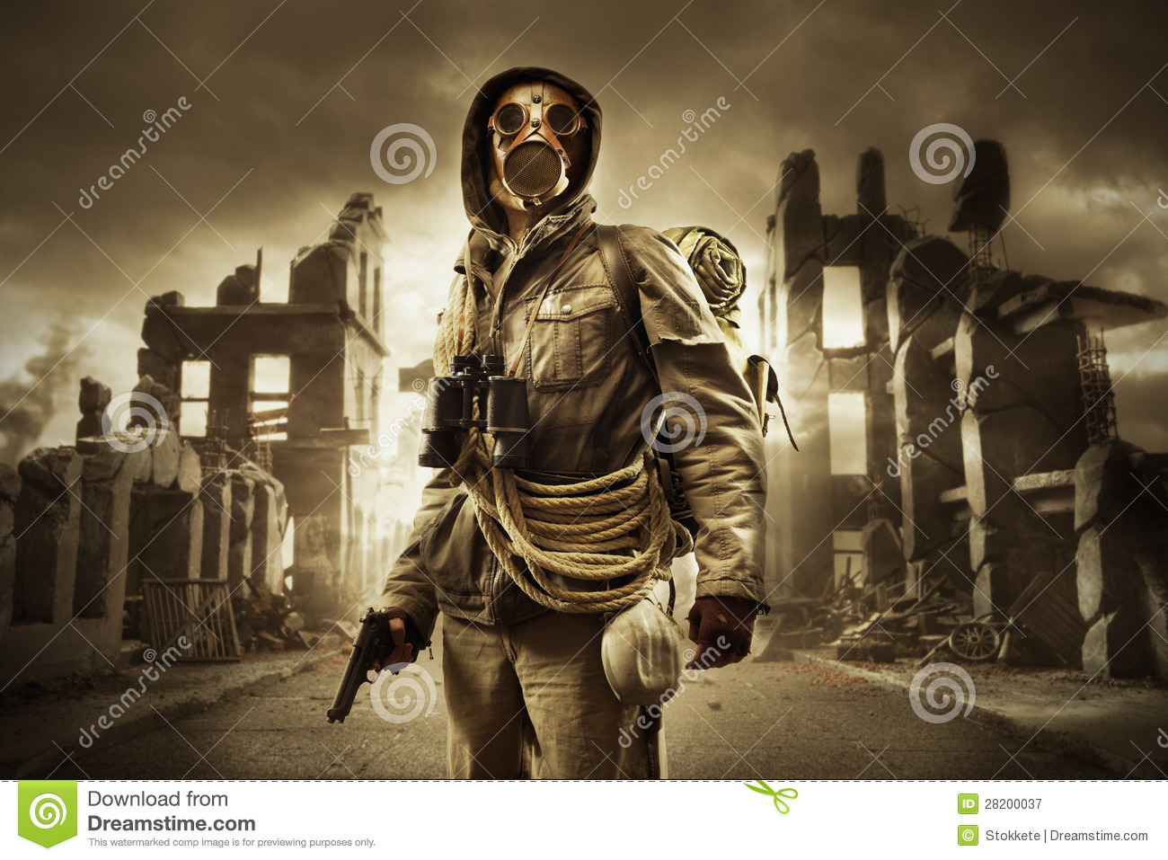Post Apocalyptic Survivor In Gas Mask Royalty Free Stock Photography ...