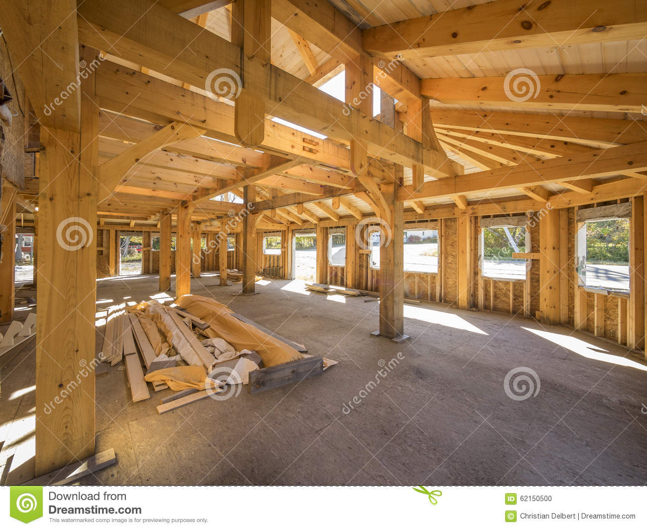 Post and beam interior construction stock photo image of for Post and beam construction plans