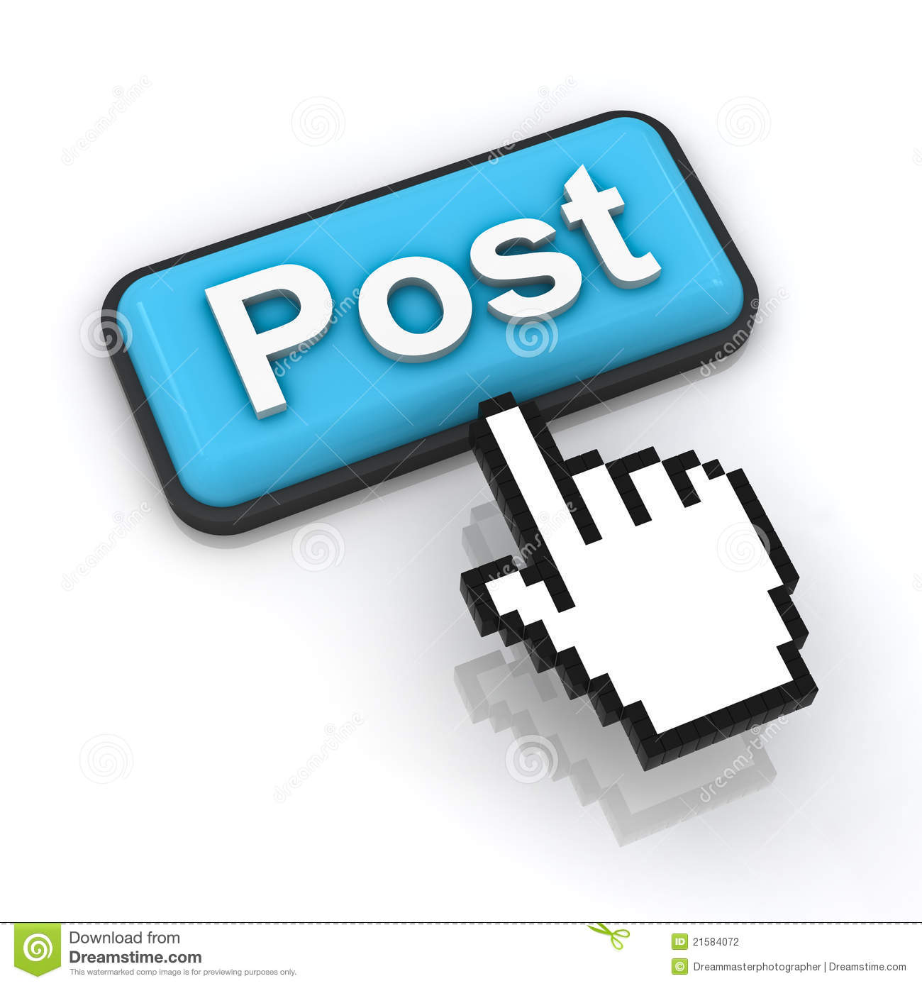 Post Button With Hand Cursor Stock Photography