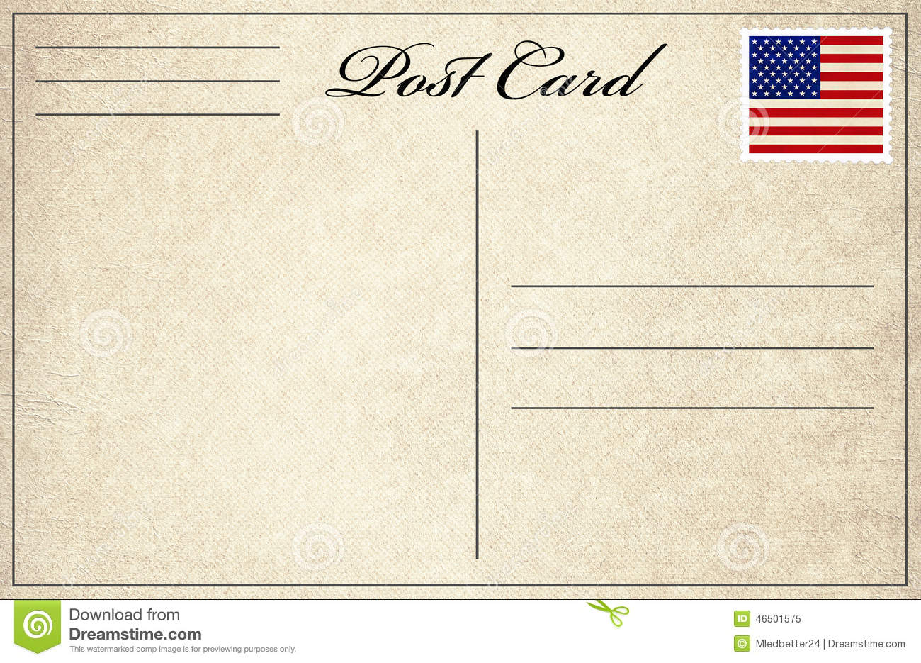 Post Card With Flag Stamp Stock Photo - Image: 46501575