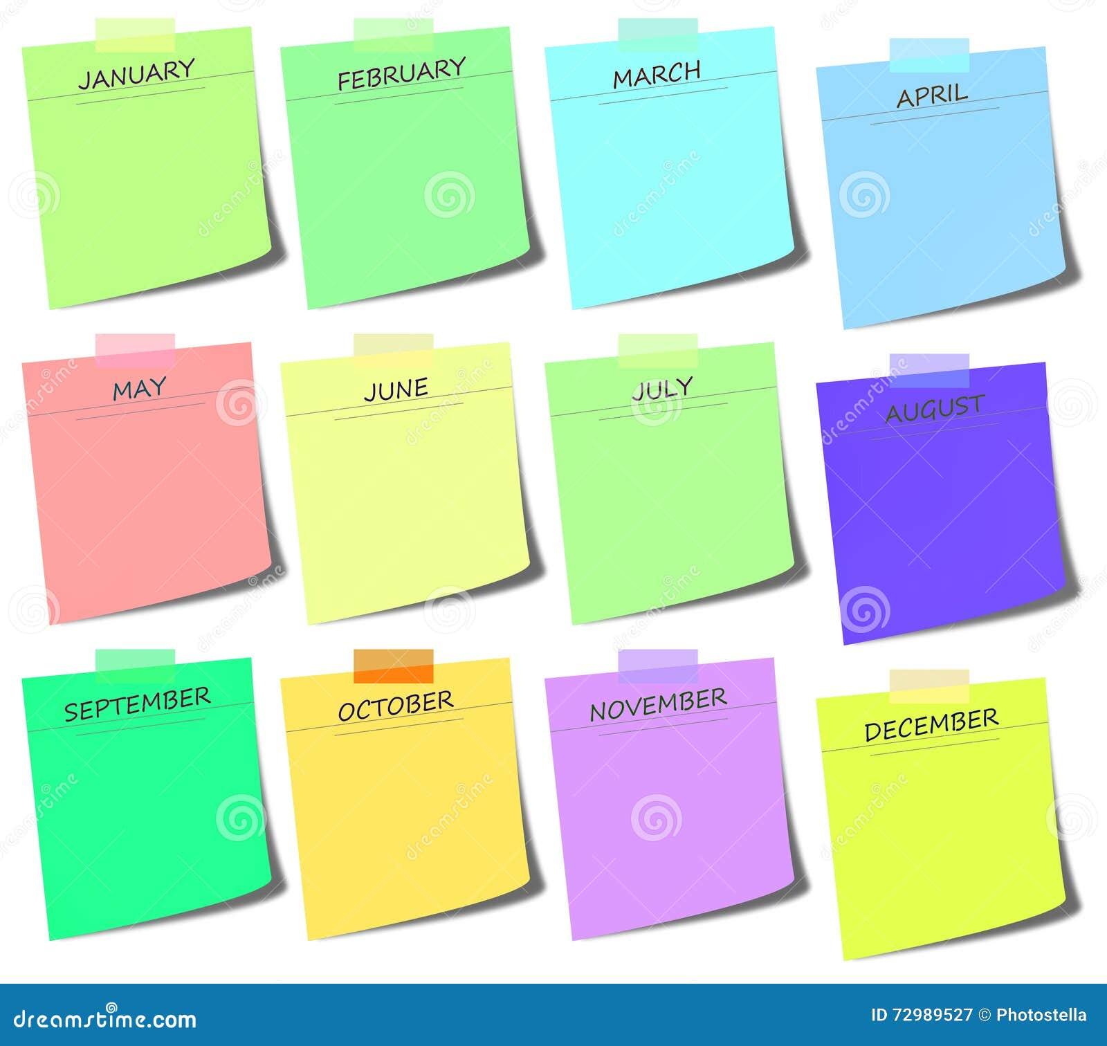 Calendario It.Post It Colorido Calendario Ilustracao Stock Ilustracao