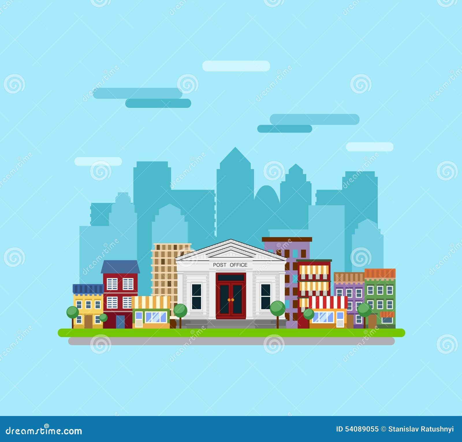 Post die op de achtergrond van de stad voortbouwen