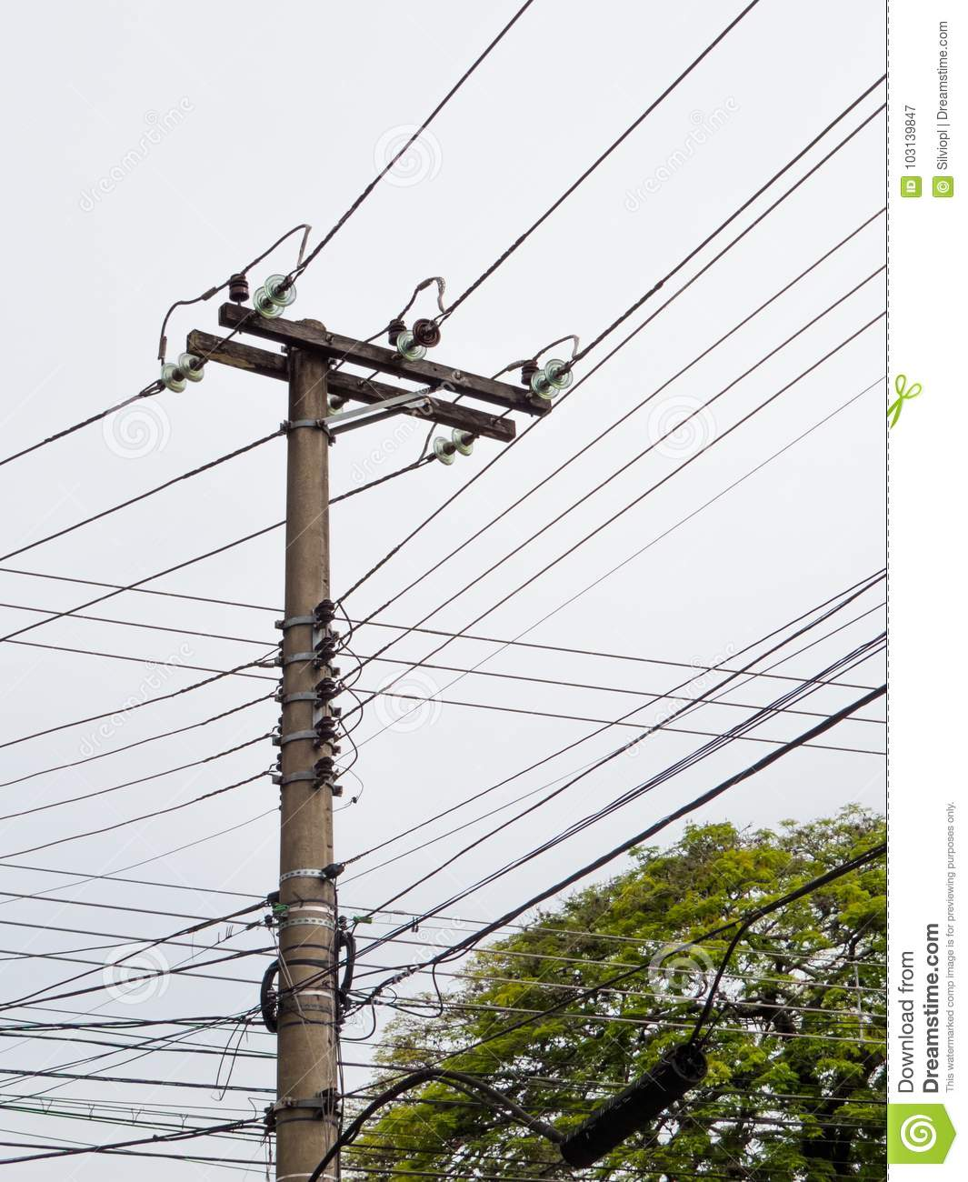 Post With Electric Transmission Wires On White Background Stock ...