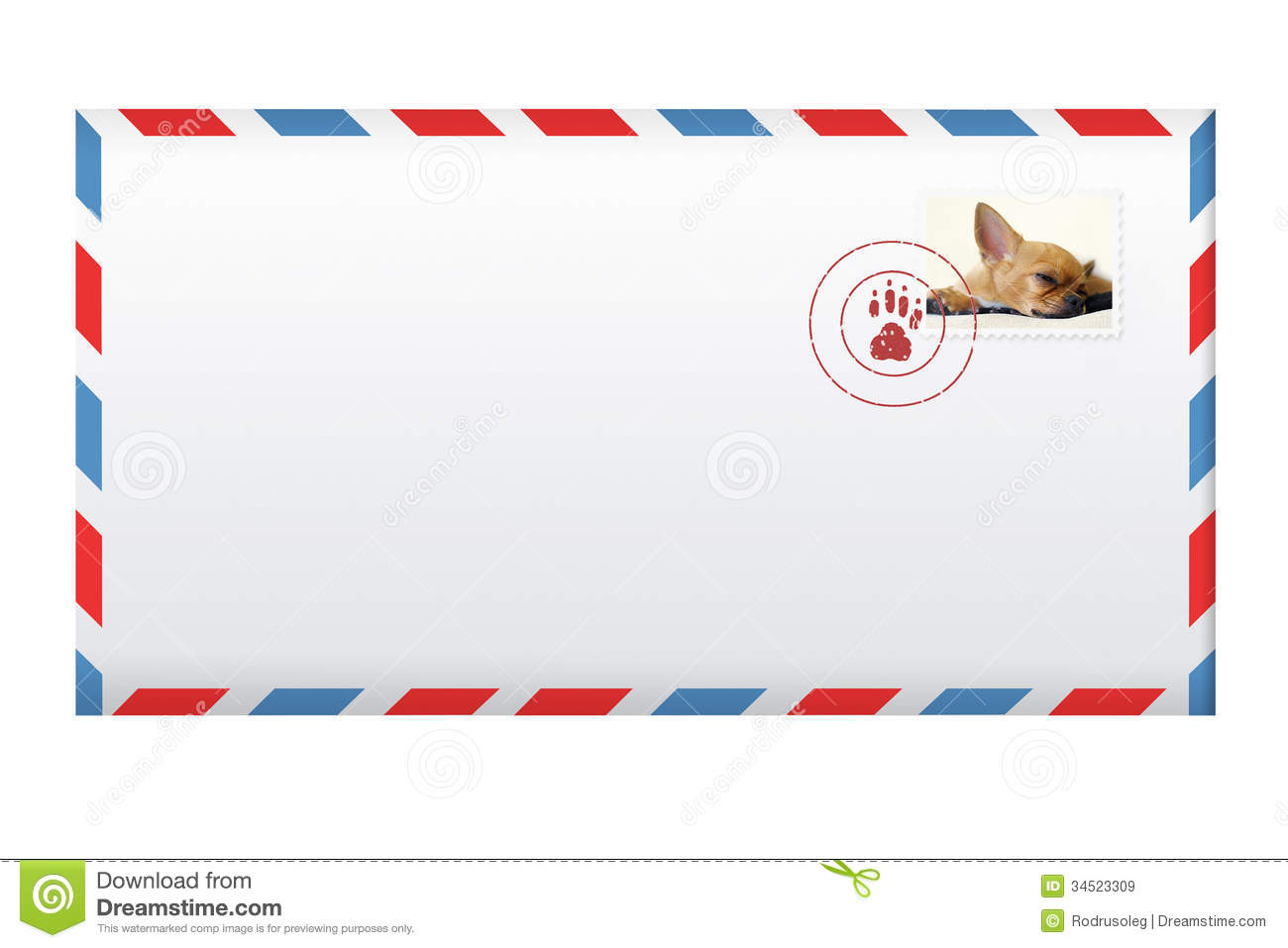 Post Envelope With Postage Stamp Isolated On White. Royalty Free Stock ...