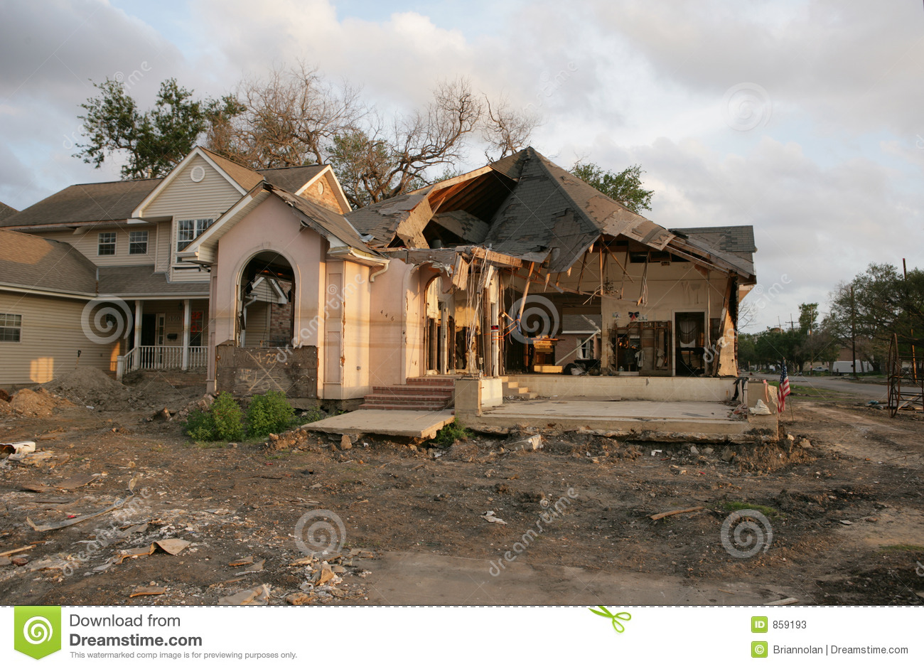Post Hurricane Katrina A Flood Damaged Home In New Orleans