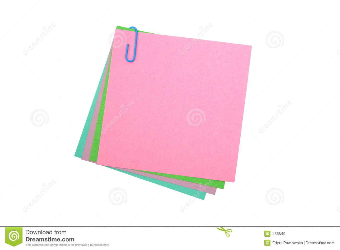 Post its With A Paper Clip Royalty Free Stock Images