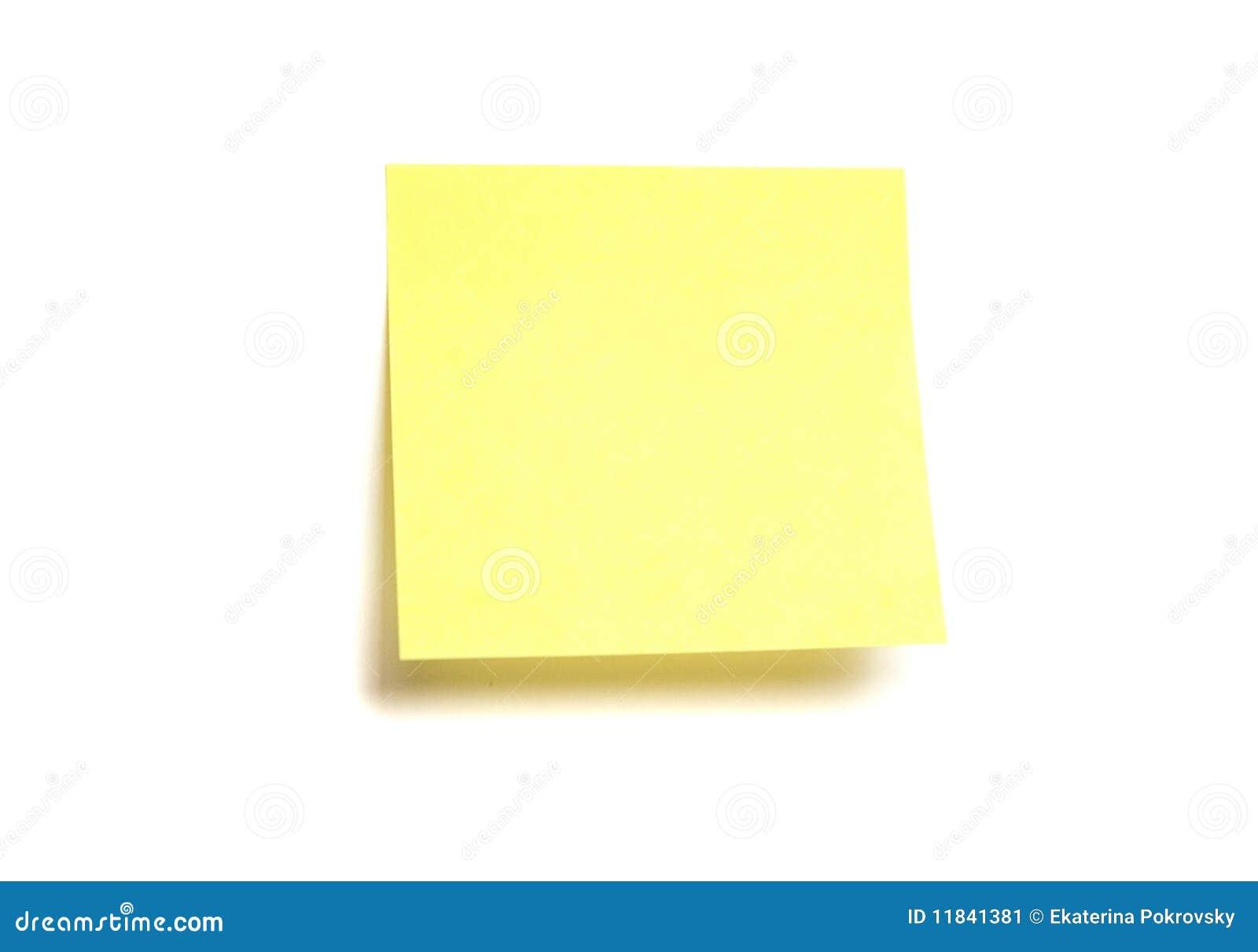 post it jaune d 39 isolement image stock image du incidentals 11841381. Black Bedroom Furniture Sets. Home Design Ideas