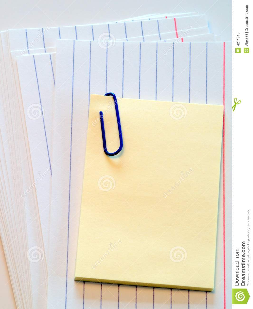 post it note on cue cards stock image image of reminder 4271813