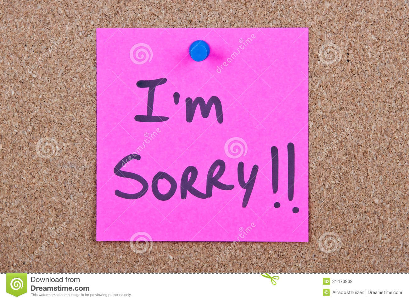 Post it note with im sorry stock photo image of black bulletin post it note with i m sorry altavistaventures Choice Image
