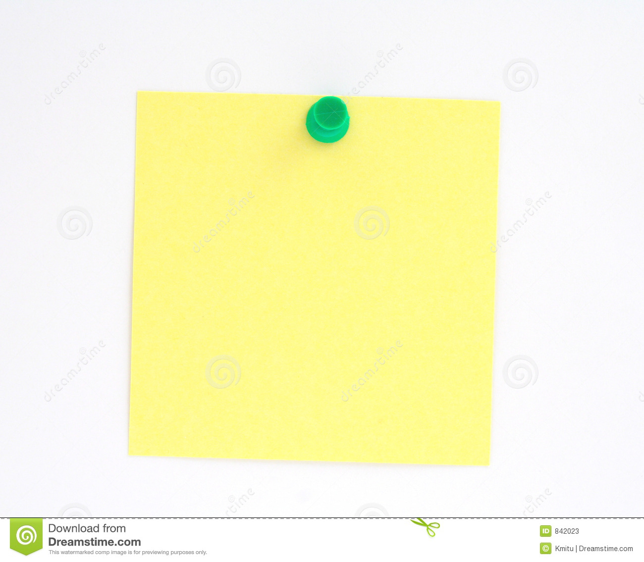 Yellow note pinned to white paper wall