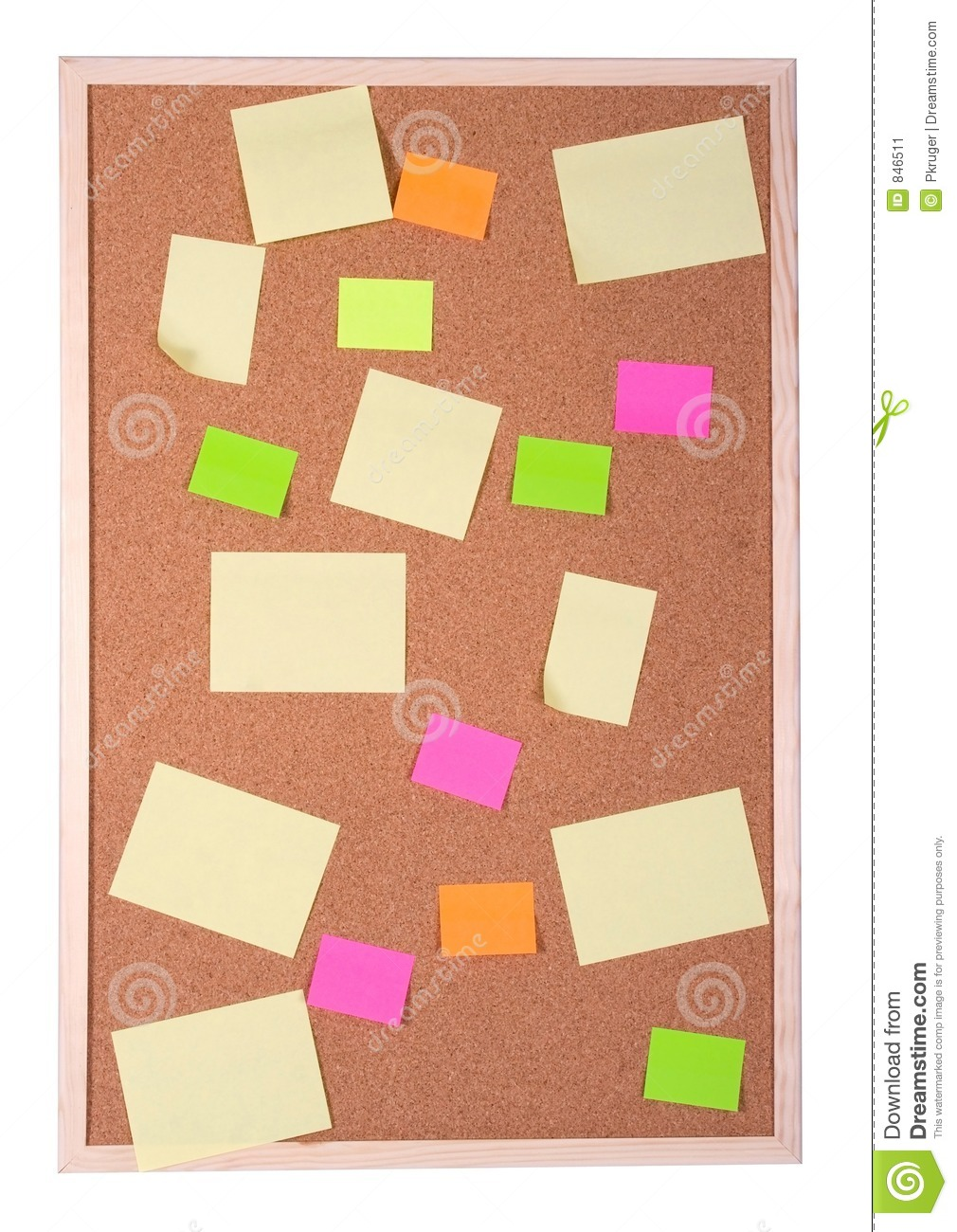 post it notes on a cork board stock image image 846511. Black Bedroom Furniture Sets. Home Design Ideas
