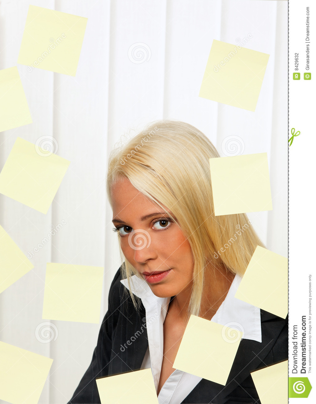 Post-it notes and worker