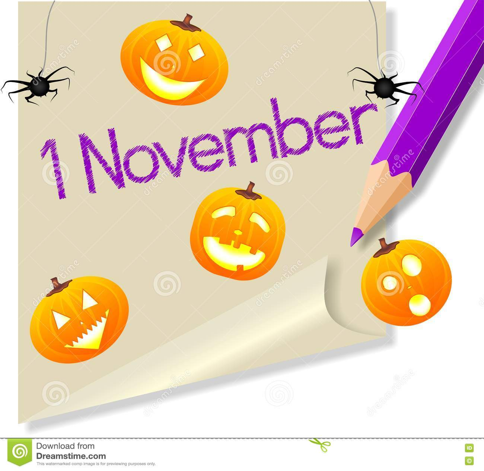 Post It November 1 Halloween Party Royalty Free Stock - November 1 Halloween