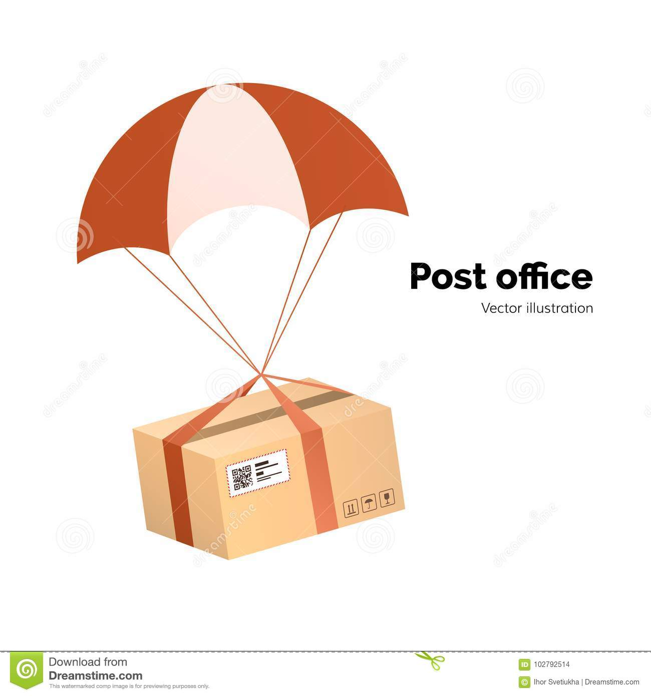 Post Office. Airmail Delivery Service. Packege With Label, QR Code ...