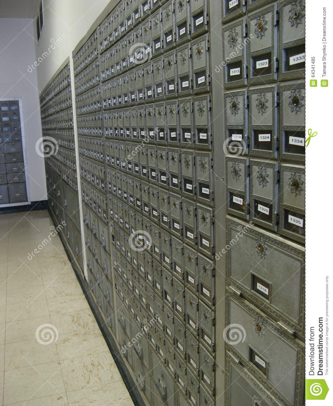 Download Post Office Boxes stock image. Image of office, gray - 64341485