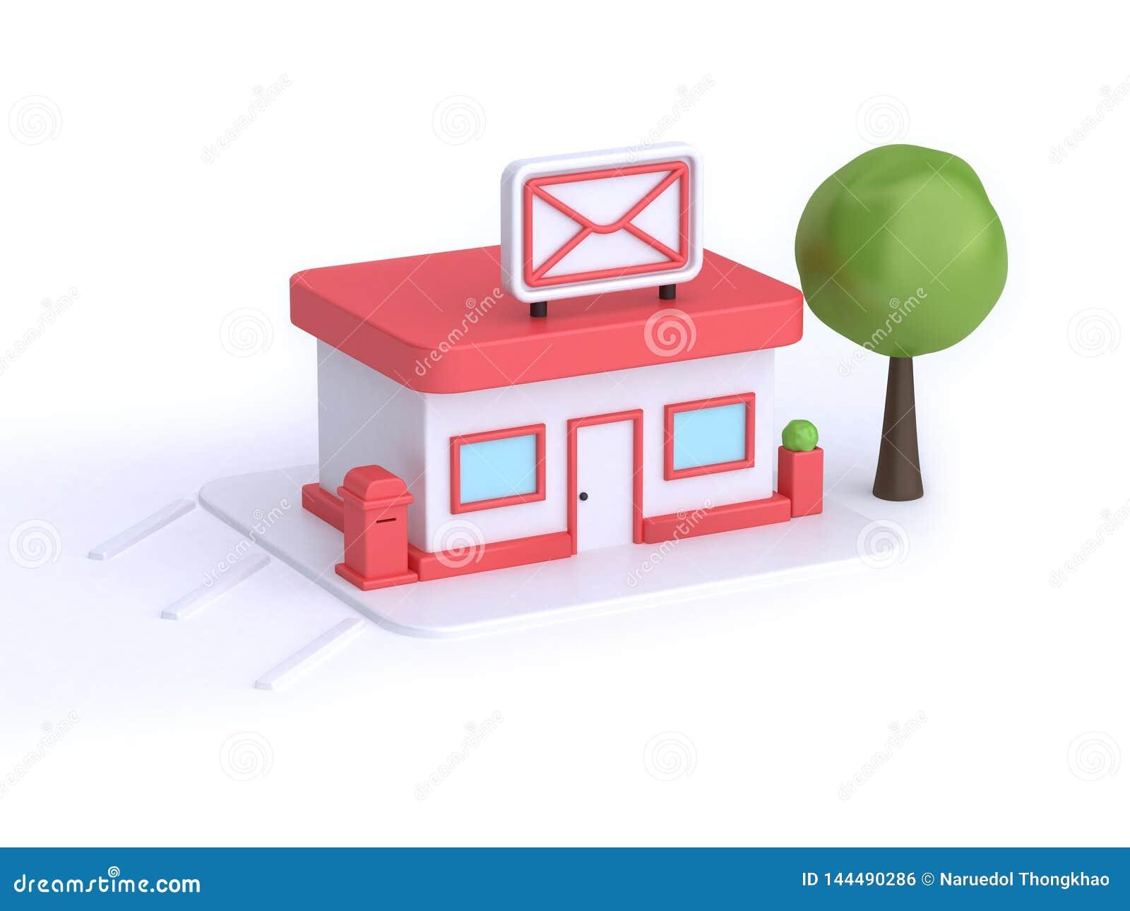 Download Post Office Building Cartoon Gif