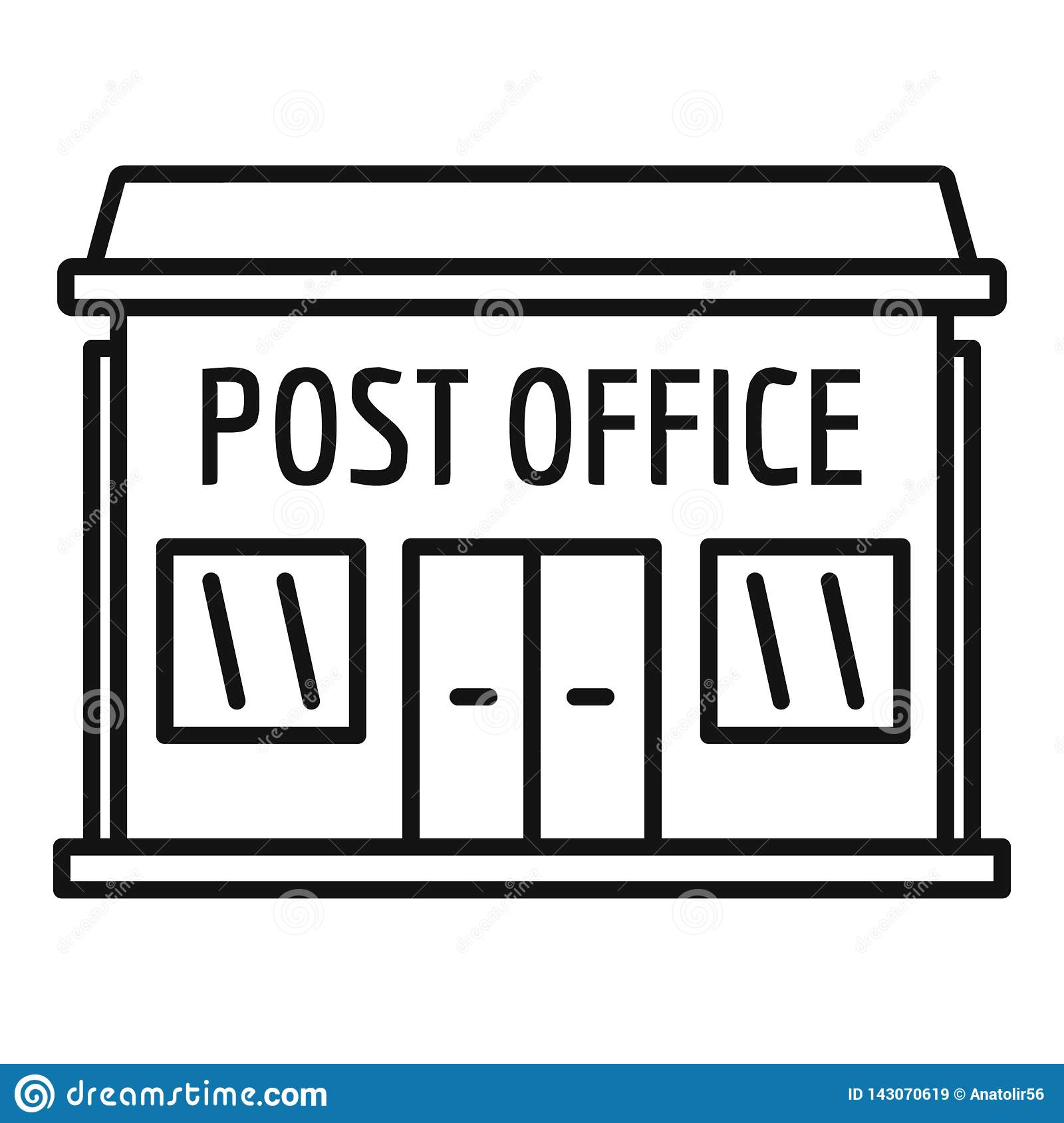 Post Office Building Icon, Outline Style Stock Vector